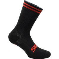 SIXS Merinowolle Socken Schwarz/Rot 44-47